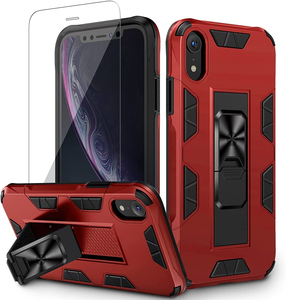 VEGO Compatible for iPhone XR Case, Built-in Hidden Kickstand Magnet Grip Military Grade Shockproof Protective Stand Case with Tempered Glass Screen Protector for iPhone XR 6.1 inch (2018) - Red