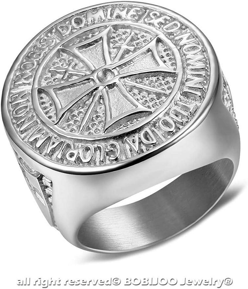 Grosse Bague Chevali/ère Homme Ordre des Templier Brut Croix Malte Acier Argent/é BOBIJOO Jewelry