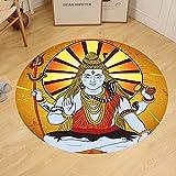 Gzhihine Custom round floor mat Spiritual Indian God on Grunge Backdrop Faith Idol Meditation Boho Holy Print Bedroom Living Room Dorm Amber Orange Light Blue