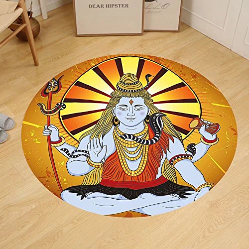 Gzhihine Custom round floor mat Spiritual Indian God on Grunge Backdrop Faith Idol Meditation Boho Holy Print Bedroom Living Room Dorm Amber Orange Light Blue by Gzhihine