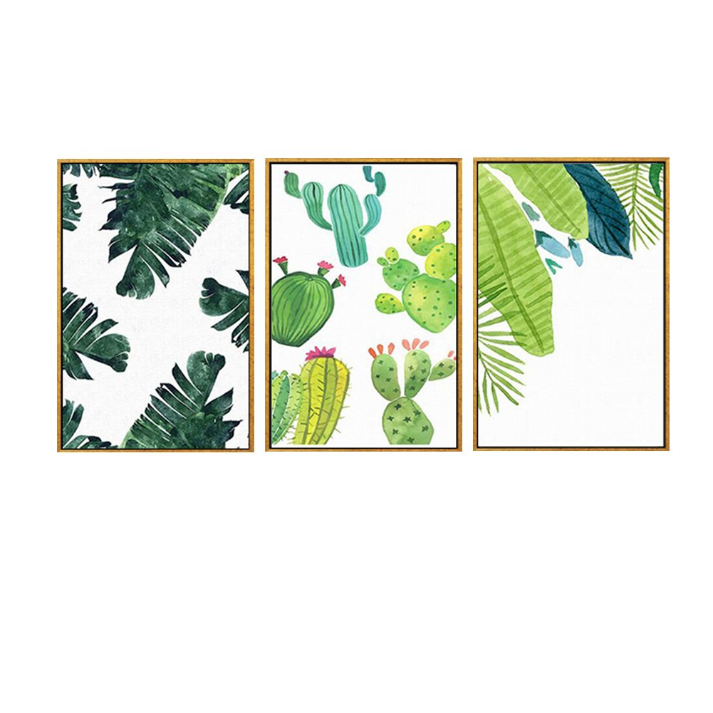 wjkjart Framed Nordic Style Botanical Green Leaf Canvas Prints Wall Art on Golden Floating Frame For Home Kitchen Office Decoration Ready to Hang 3PCS Per Set