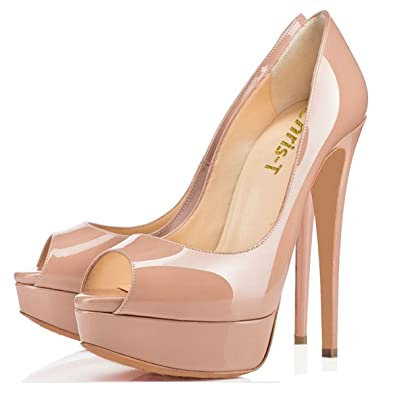 d992f364b047 Chris-T Womens Sexy Slip On High Heels Peep Toe Platform Pumps Stiletto  Dress Wedding