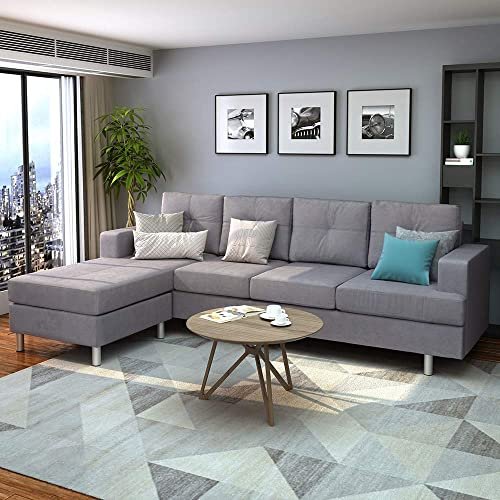 Romantlink Modern Combination, L-Shaped Sectional Sofa, Easy to Assemble Foot Pedal, 1 Triple Sofa,1 Recliner, for Living Room Apartment Small Space