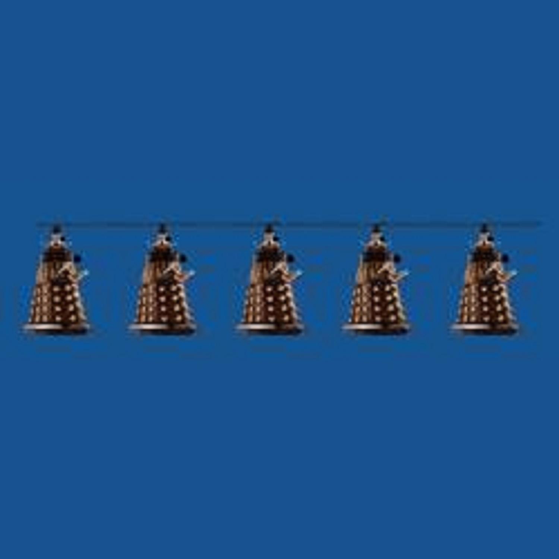 Set of 10 Doctor Who Bronze Dalek Novelty Christmas Lights- Green Wire