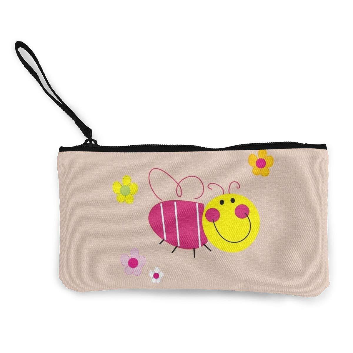 Little Bee Zipper Canvas Coin Purse Wallet Cellphone Bag With Handle Make Up Bag