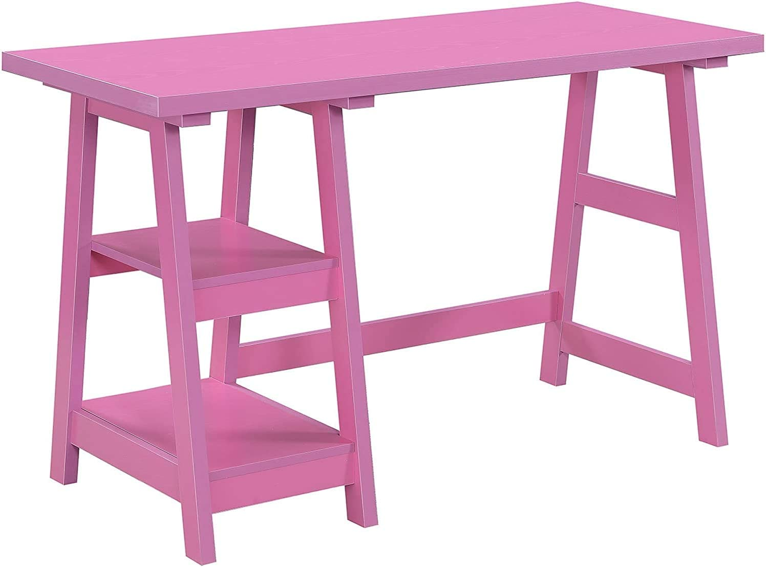 Convenience Concepts Designs2Go Trestle Desk, Pink