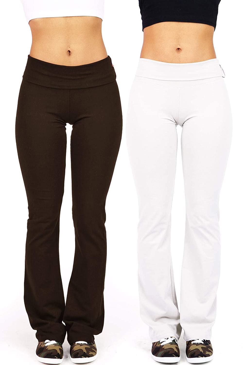 Ambiance Apparel Womens Juniors Foldover Stretchy Yoga Pants Combo