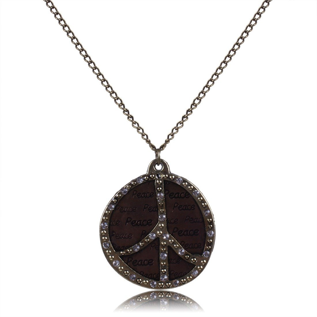 Qiyun Vintage Retro Bling Rhinestone Peace Sign Lover Pendant Chain Necklace Mille sime Signr De Paix Collier W005N1358