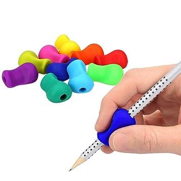 kwmobile Agarradores ergonómicos para lápices - 10x Empuñaduras de [silicona] para corrección de escritura - Soportes de lápiz en div. colores
