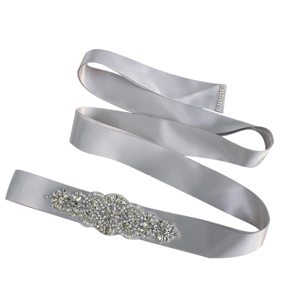 Women Crystal Sparkly Sash Belt - Bride Wedding Belts For Dresses (Black) 614631369803