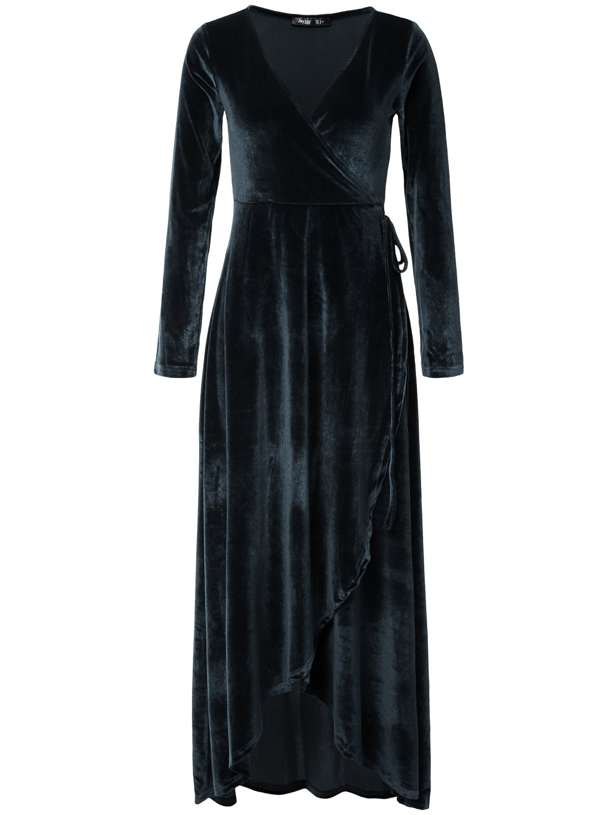 JayJay Women Retro Veltvet Faux Wrap Party Long Dress,Silverblue,2XL