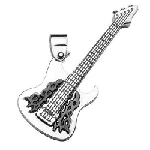 So Chic Joyas - Colgante Hombre Modelo Grande Guitarra Eléctrica Acero Inoxidable: Amazon.es: Joyería