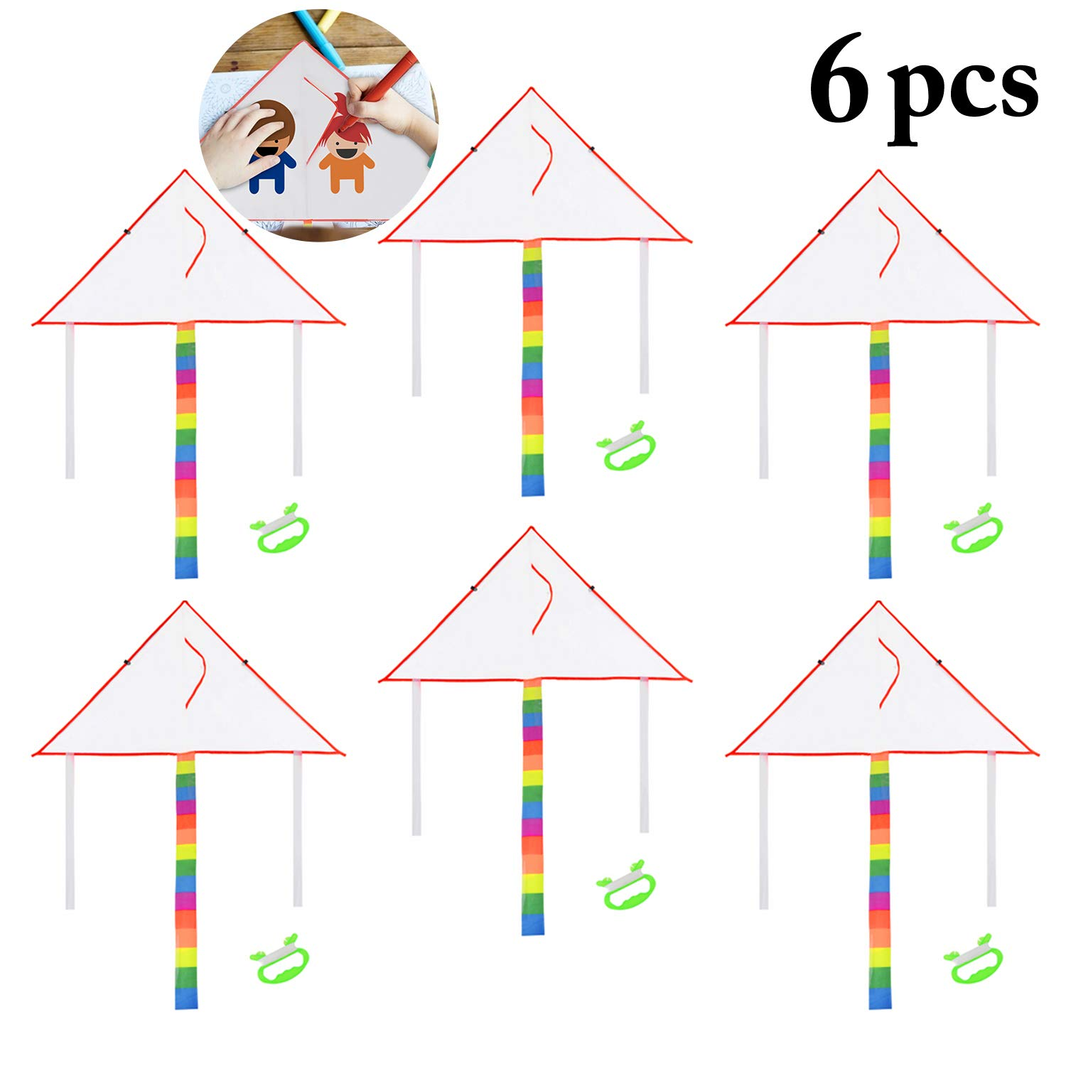 Joyibay DIY Kids Kite Kites Making Painting White Paper Blank Kites with Swivel Line for Boys & Girls Outdoor Park Beach Grassland Activities(6PCS)