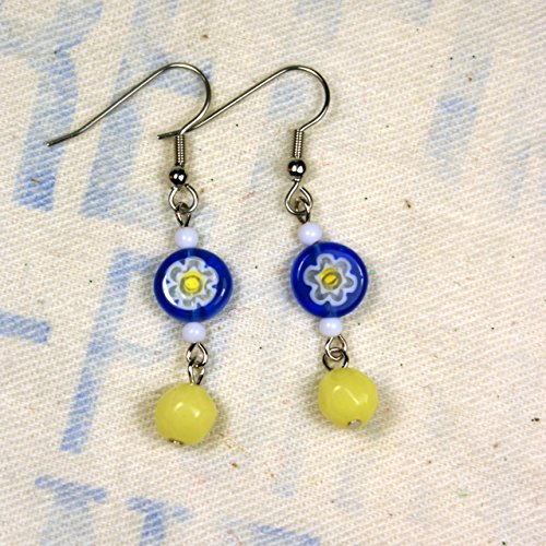 Blue and Yellow Glass Bead Millefiori (Millefiori Blue Heart Earrings)