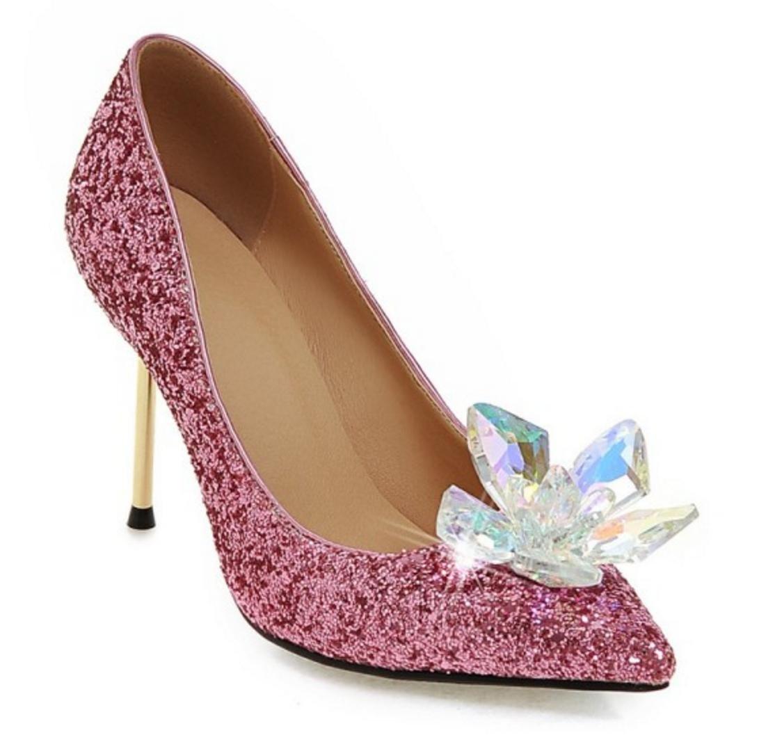 HYLM Hot Aschenputtel Kristall Schuhe spitze Schmetterling Blume Silber Diamant spitze Schuhe High Heels Fine mit Hochzeit Schuhe Bankett Schuhe pink 629bbb