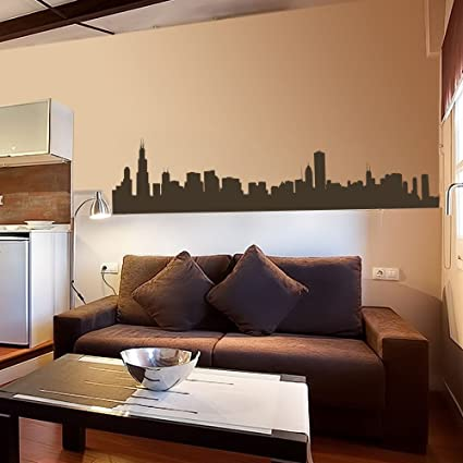 Vinyl Chicago Wall Decal Chicago City Wall Decor Chicago Skyline Wall  Sticker Wall Mural Wall Graphic Living Room Wall Decor Dark Brown