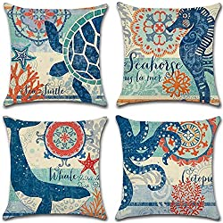 "4 Pack Ocean Theme Mediterranean style Cotton Linen Square Decorative Throw Pillow Case Cushion Cover Starfish,Sea Horse,Shell&Conches 18"" X 18"" (Ocean Park Theme 3)"