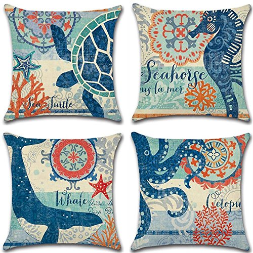 "4 Pack Ocean Theme Mediterranean style Cotton Linen Square Decorative Throw Pillow Case Cushion Cover Starfish,Sea Horse,Shell&Conches 18"" X 18"" (Ocean Park Theme 3)"