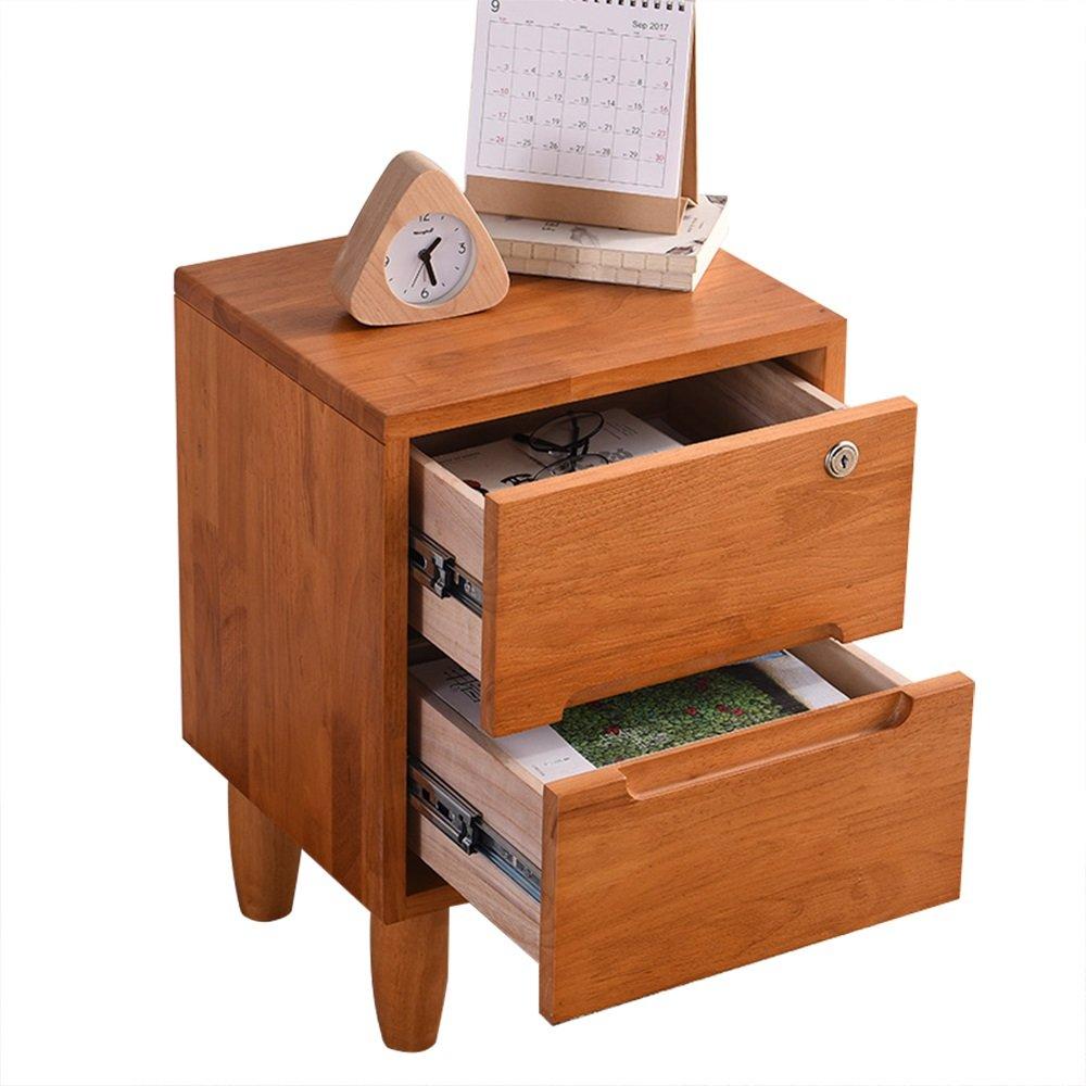 XF Nachttische Beistelltisch Schlafzimmer Night Stand-Locker mit 2 Schubladen (Weiß/Braun Solid - Massivholz Multi-Use und Provincial Space Moderne einfache Kabinett Nachttisch/Sofa Tisch/Schrei