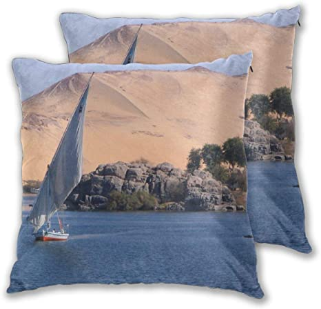 Not Boat Sailing Nears Desert Throw Pillow Covers Decorative Square Pillowcase Cushion For Sofa Bedroom Car Set Of 2 Home Kitchen