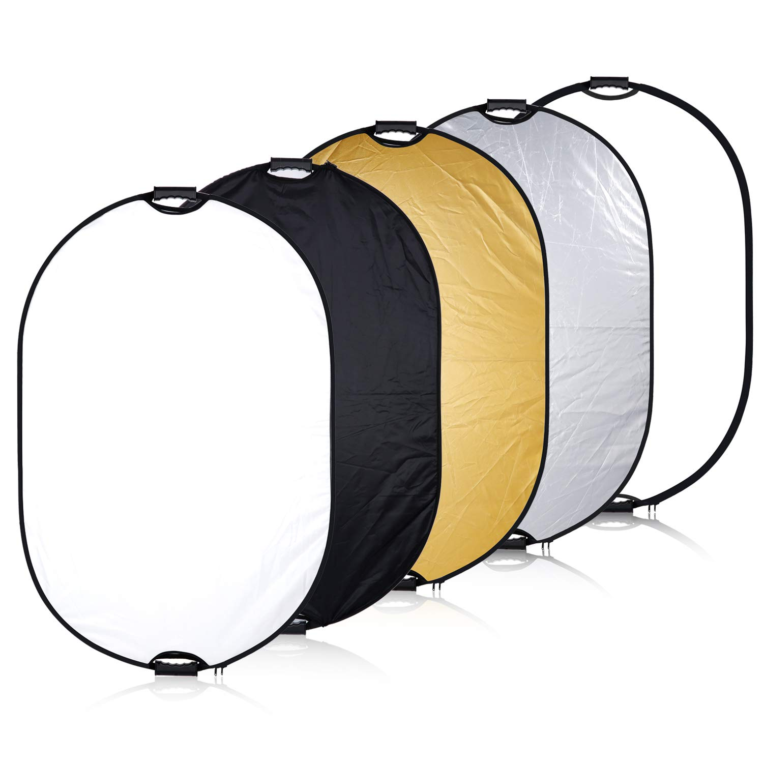 Neewer 5 in 1 Portable Multi Reflector Disk Camera Lighting Reflector Panel 35.4x47.2 inches/90x120 Centimeters with Handle Grip and Carrying Case for Photpgraphy, Gold Silver White Black Translucent by Neewer