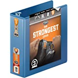 Wilson Jones Heavy Duty Round Ring View Binder with Extra Durable Hinge, 3 Inch, Customizable, PC Blue (W363-49-7462)