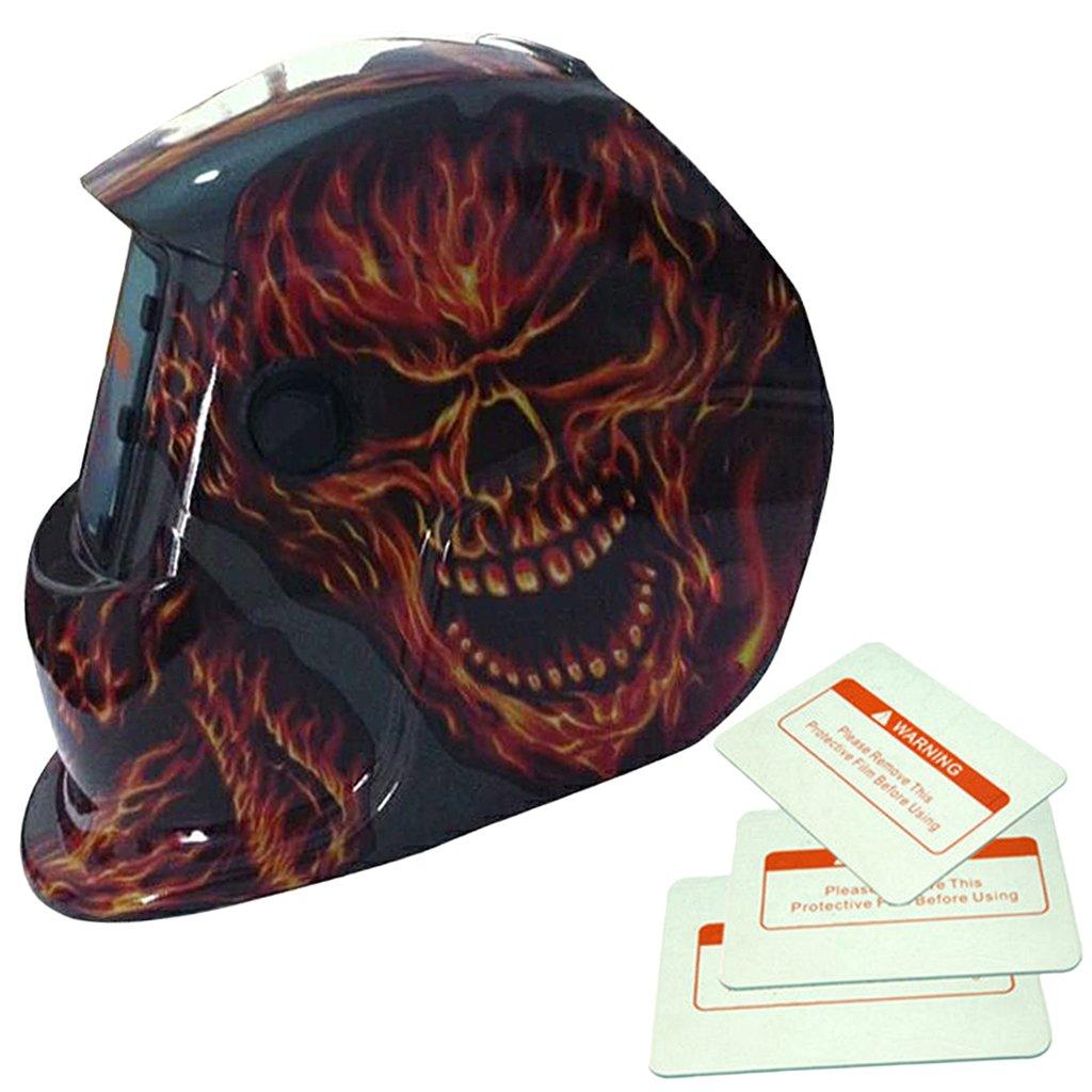 MagiDeal Solar Energy Auto-Darkening Arc Welding Helmet Filter Shield Weld Goggle Mask - Fire Skull
