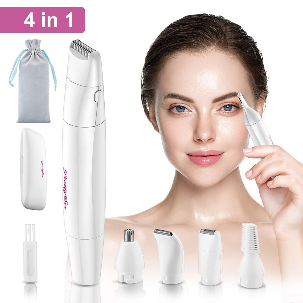 Eyebrow Trimmer Nose Ear Hair Epilator for Women, 4 in 1 Waterproof Painless Body Shaver Facial Hair Remover Bikini Trimmer, Battery-Operated