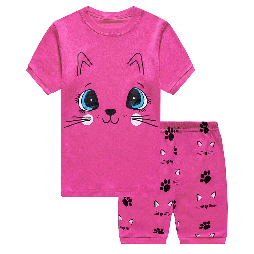 Baby 2pcs Outfits Set, Toddler Boys Girl Tops T-Shirt Cat Print Short Pants Casual Clothes Sleepwear Sets (2-3 Years, Pink)
