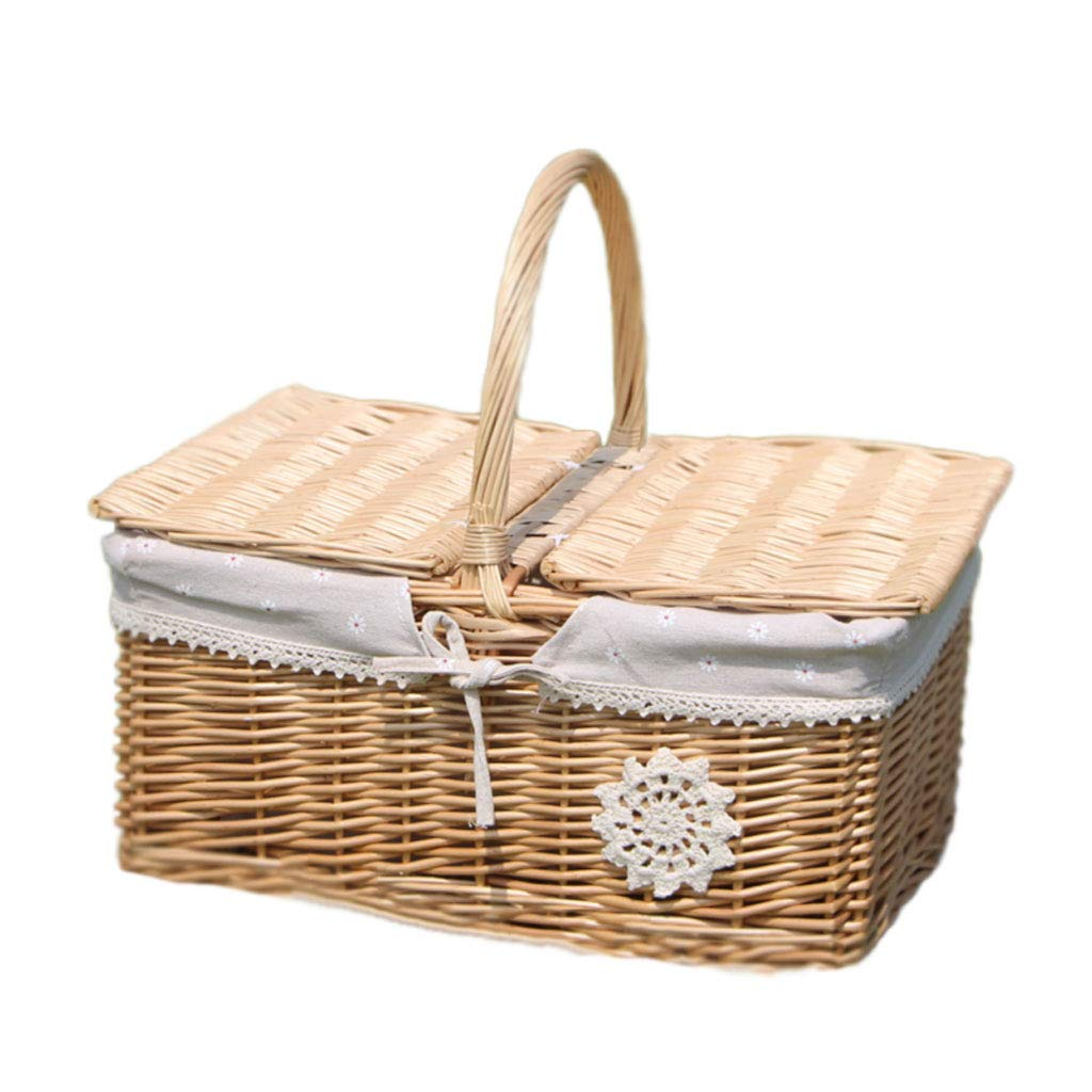 Cestino da picnic con cesto doppio Willow Wicker, 38x28x17cm