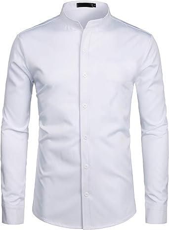 ZEROYAA Mens Hipster Solid Slim Fit Long Sleeve Mandarin Collar Dress Shirts