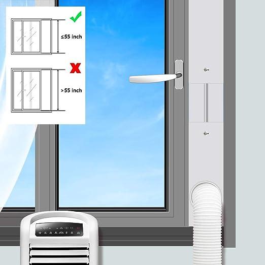 Aozzy PVC Aislante Ajustable para Ventanas Correderas Aires Acondicionados Portátiles y Secadoras Frena La Entrada de Aire Caliente de Tamaño Máximo 55