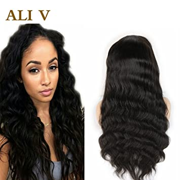 e287fe444 ALI V 100% Full Lace Human Hair Wigs with Baby Hair for Black White Women