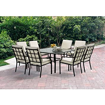 Barcelona 9 Piece Patio Dining Set Seats 8 Amazoncouk Garden
