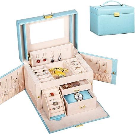 Caja para Joyas, para Pendientes, Pulseras, Anillo Joyero de viaje con cajones Caja de almacenamiento de exhibición organizador de almacenamiento de exhibición para organizador de almacenamiento de al: Amazon.es: Hogar