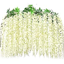 Artificail Wisteria Flowers, Hotsaleglobal 2 Pcs of 5.2 Ft Hanging Garland Silk FLowers for Courtyard Home Wall Wedding Backdrop Decor (White)