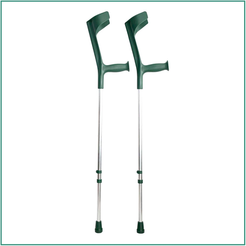ORTONES | Pack de 2 Muletas Adulto Regulables de Aluminio | Color Verde.
