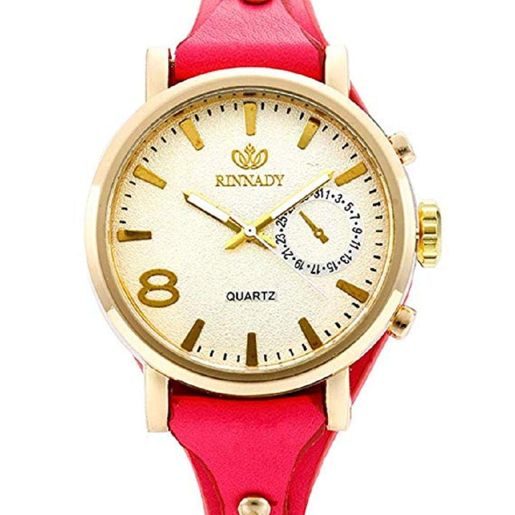 ef5f37ef06ba Scpink Relojes de señora análogos del Cuarzo del diseño Retro ...