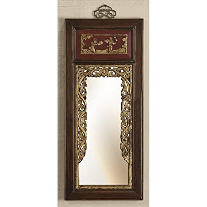 Amazon.com: ChinaFurnitureOnline Elmwood Wall Mirror, Antique Floral ...
