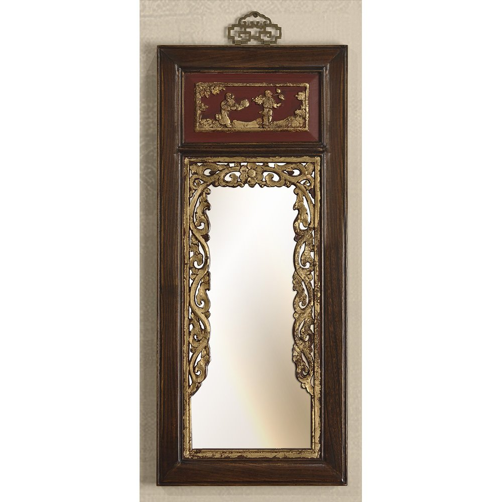 China Furniture Online Elmwood Wall Mirror, Antique Floral Carving with Playing Girl and Boy Design Hanging Mirror Red and Distressed Brown