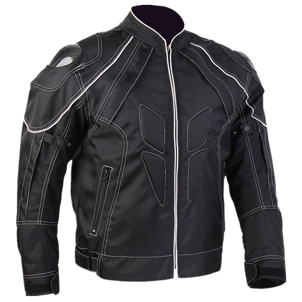 ILM Motorcycle Jackets, Carbon Fiber Armor Shoulder, Moto Jacket for Men and Women (S, BLACK)
