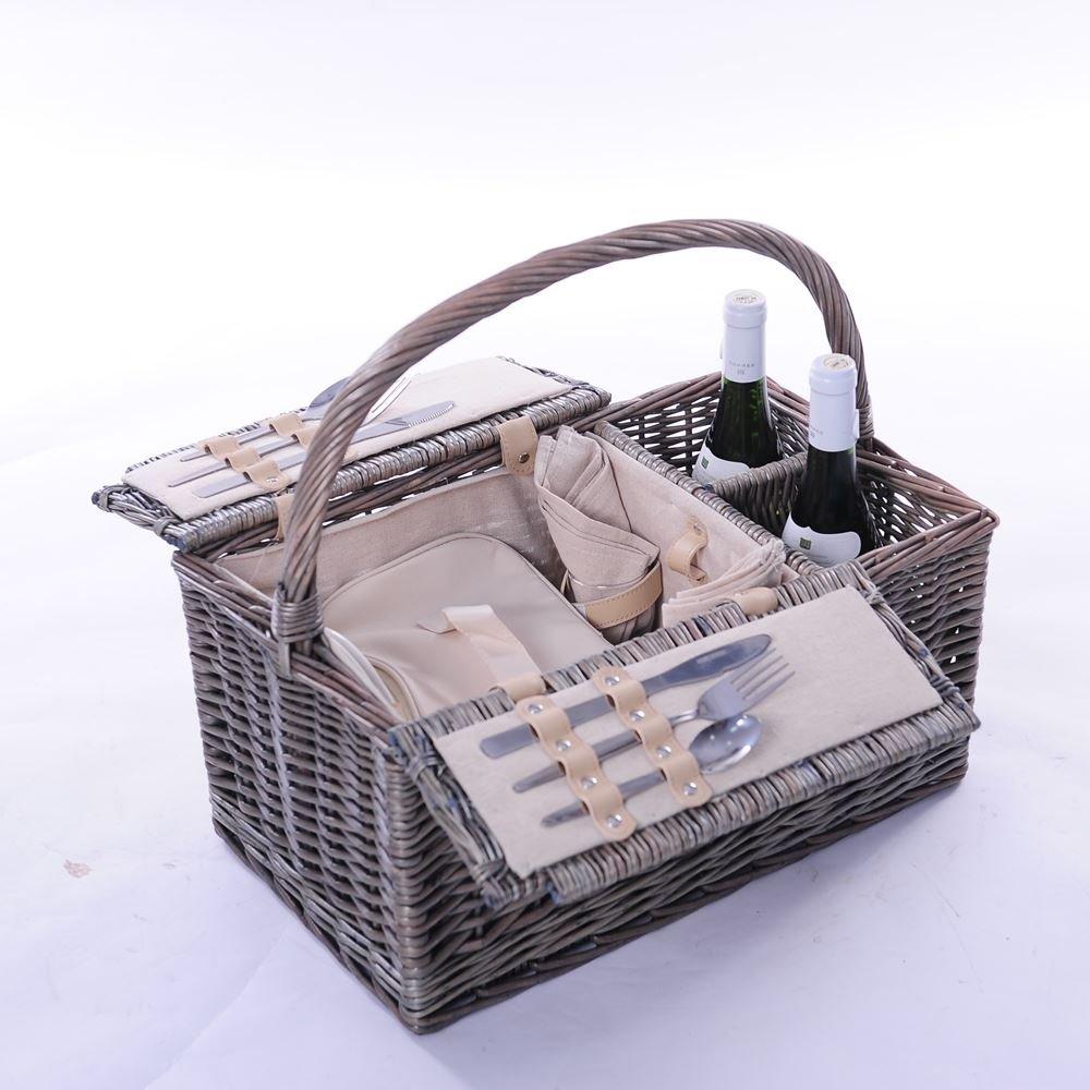 2 Person: Ausgestattet Wicker Picknickkorb mit 2 Flaschenträger