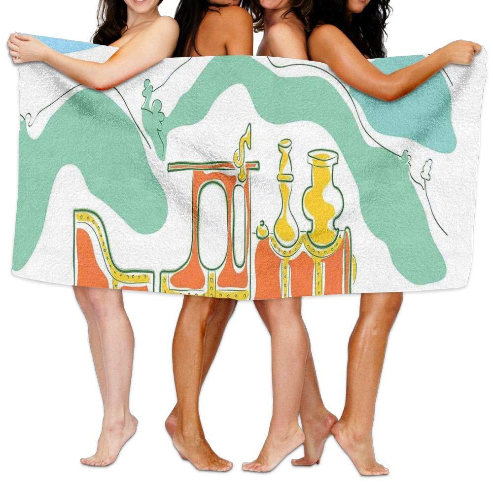 Haixia Super Soft Bath Towels Beach/Bath/Pool Towel 51.2'' X 31.5'' Steam Engine Colorful Small Old Train Country Retro Kids Art Vintage Cartoon Print Green Blue Orange
