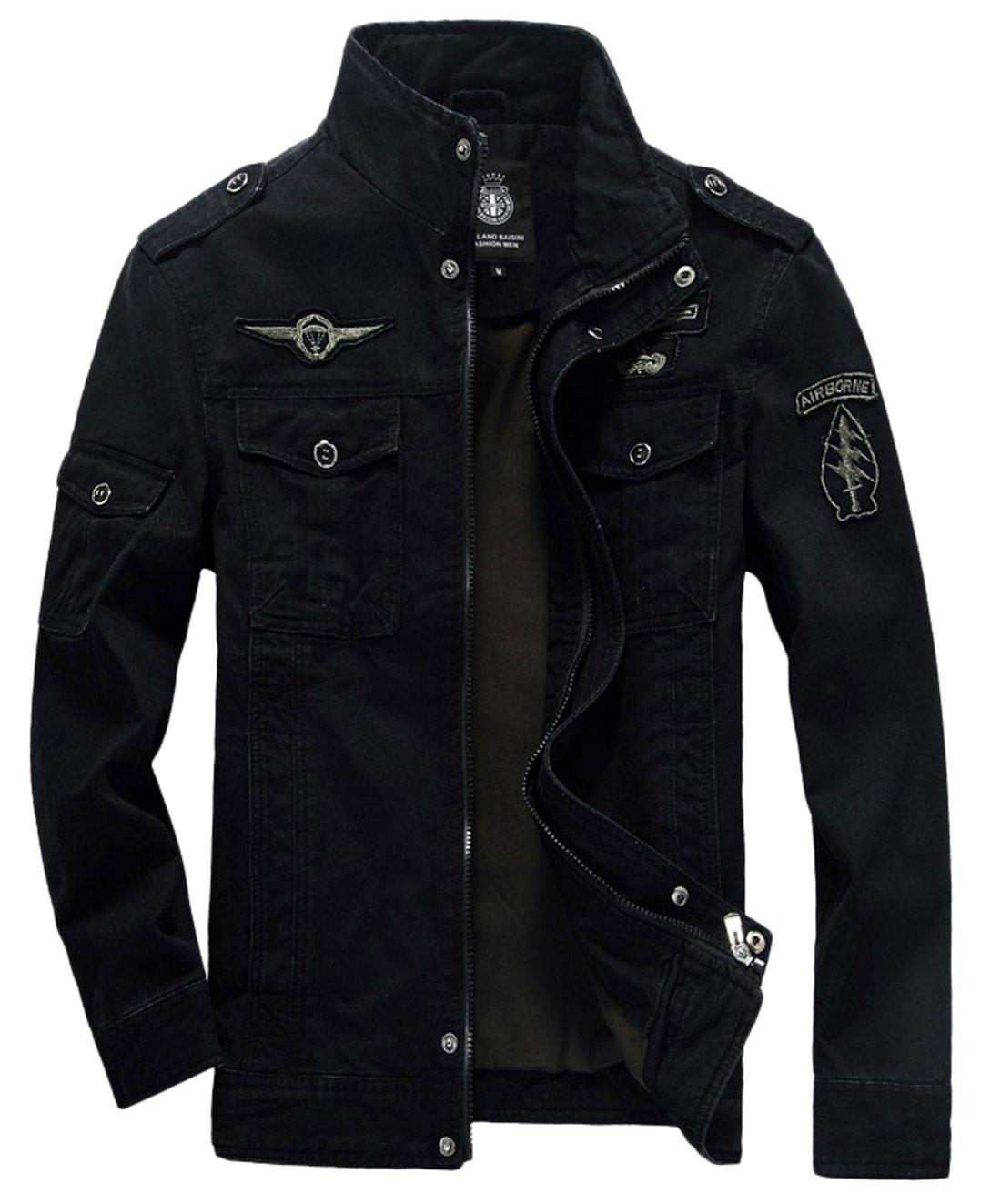 Chouyatou Men's Casual Lightweight Zip Cotton Harrington Jacket Windbreaker (Small, Black)