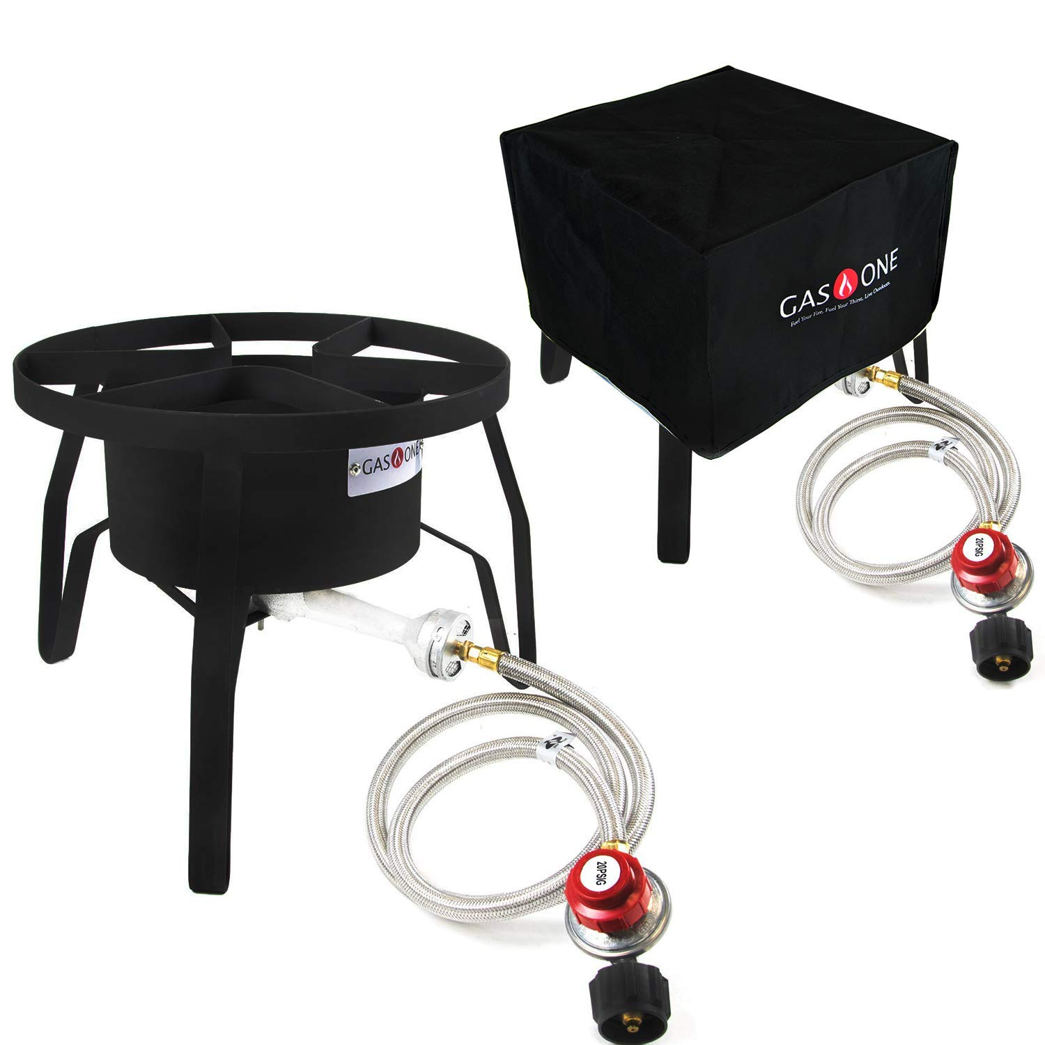 GasOne Propane Burner with Cover High-Pressure Outdoor Propane Burner Gas Cooker Welded Frame No Assembly Required 0-20 PSI Perfect for Camp Stove