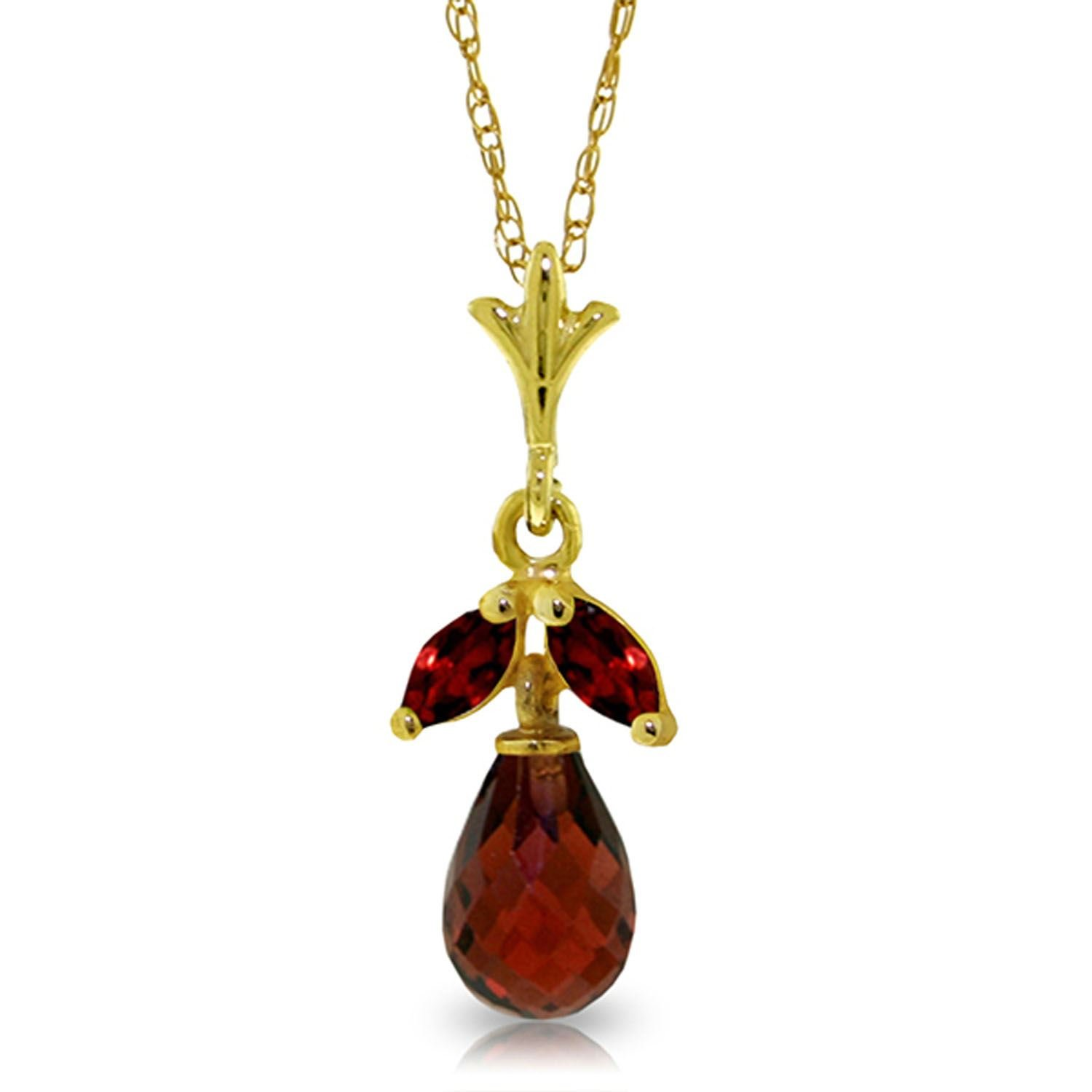 ALARRI 1.7 CTW 14K Solid Gold Passionate Romantic Garnet Necklace with 22 Inch Chain Length