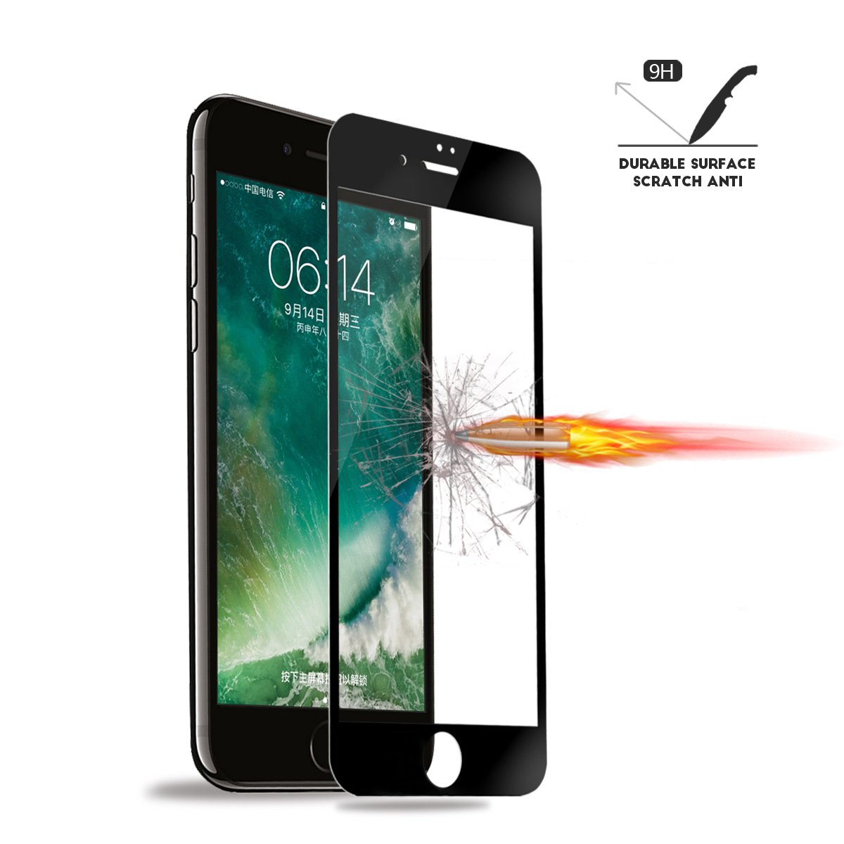(Pack of 2) Screen Protector for iPhone 7 Plus 8 Plus, Akwox Full Cover iPhone 7 Plus 8 Plus Tempered Glass Screen Protector with ABS Curved Edge Frame, Anti-Fingerprint (Black) by AKWOX (Image #3)