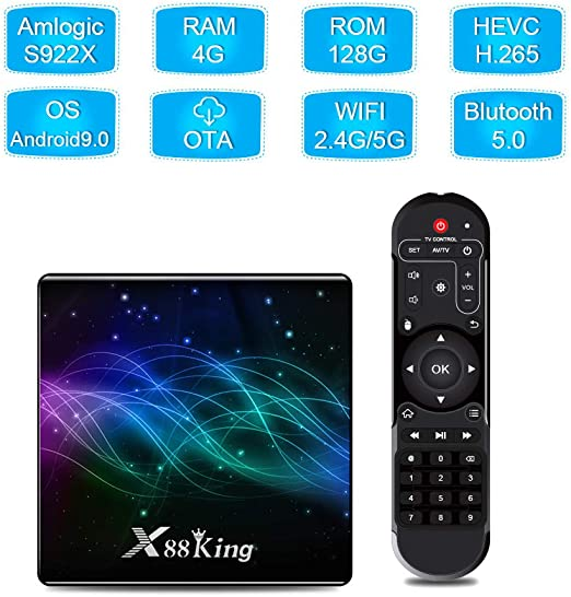 WFGZQ Android 9.0 TV Box, X88 King Smart Box 4GB RAM 128GB ROM S922X Cortex-A53 CPU 4K H.265 Resolución 100M LAN Enternet 2.4Ghz WiFi USB 3.0 Reproductor De Video: Amazon.es: Hogar