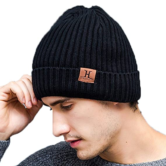 66446dbf7cff6 Slyzone Men' Winter Hats Knitted - Beanie Warm Fleece Lined Thick Knit Cuff  Outdoor Hat Cap