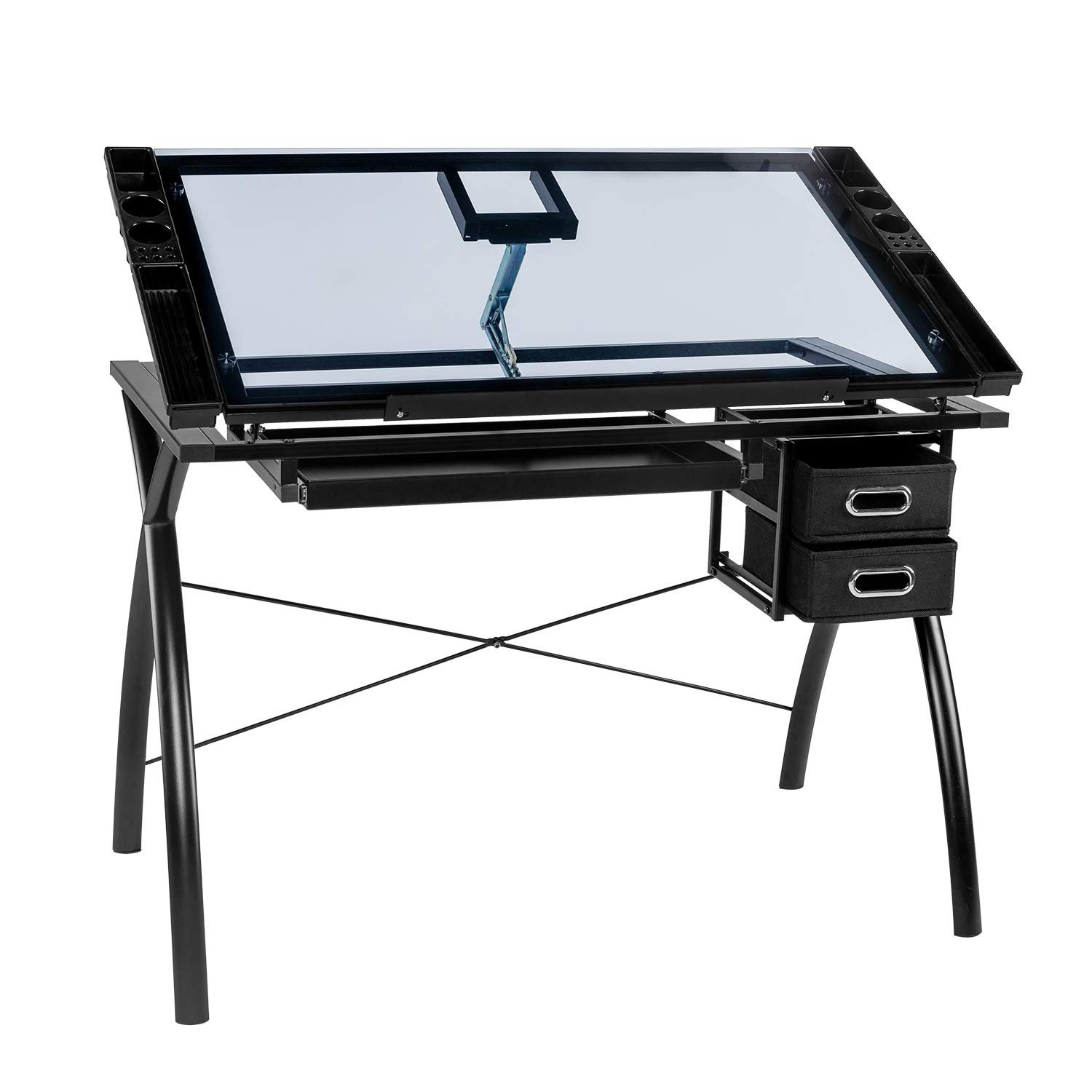 BAHOM Adjustable Drafting Table Glass Top, Art Drawing Craft Desk with 2 Drawers, Perfect for Artwork and Design, Black by BAHOM